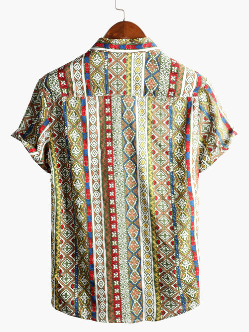 Men's Patchwork Print Short Sleeve Cotton Shirt