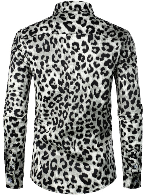 Men's Casual Leopard-Print Long Sleeve Shirt