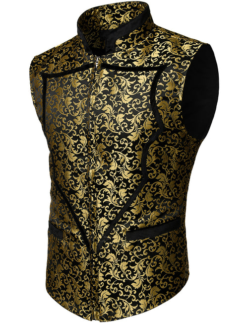 Mens Heart Shaped Classic Paisley Jacquard Waistcoat Zip Up Floral Vest