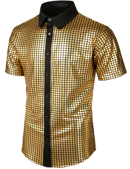 Men's Dress Shirt Sequins Short Sleeves Button Down Shirts Disco Party Costume