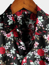 Men's Casual Rose Print Cotton Shirt