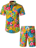 Men's Flower Casual Button Down Hawaiian Shirts&Shorts