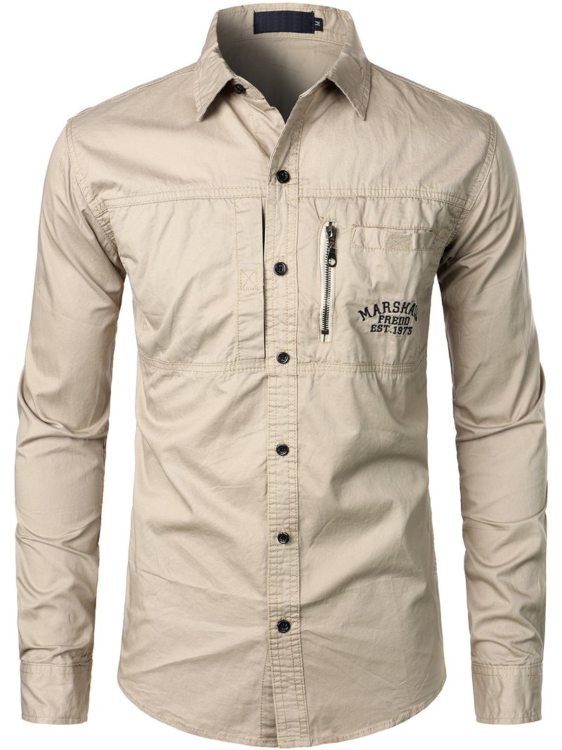 Men's Military Outdoor Leisure Lapel Cotton Long-sleeved Shirt