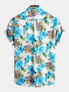 Men's Casual Tropical Floral Print Cotton Shirt