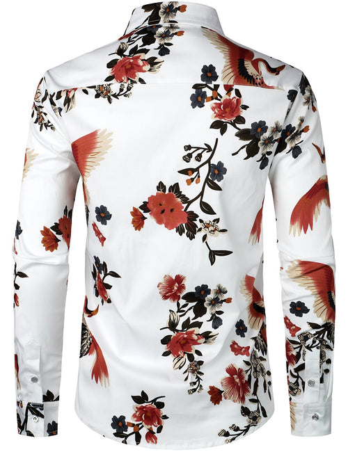 Men's Floral Casual Cotton Long Sleeve Shirt
