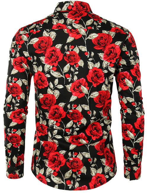Men's Long Sleeve Rose Print Cotton Shirt