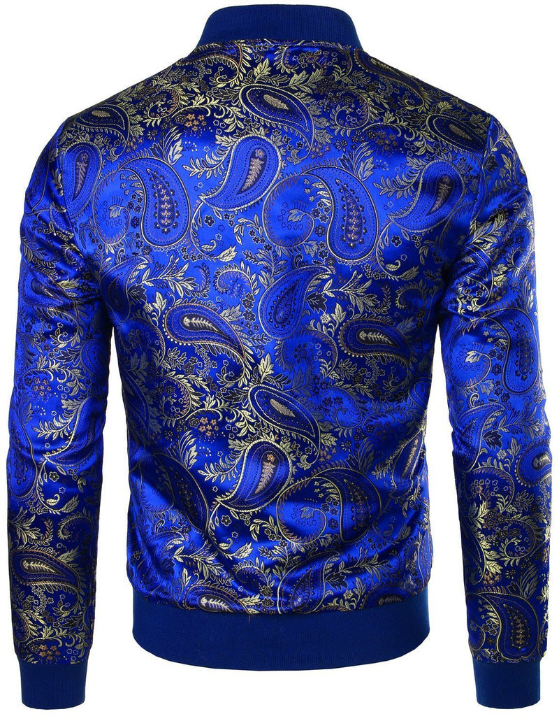 Men's Vintage Embroidered Satin Flight Bomber Jacket