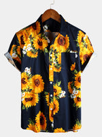 Men's Casual Holiday Floral Print Cotton Shirt