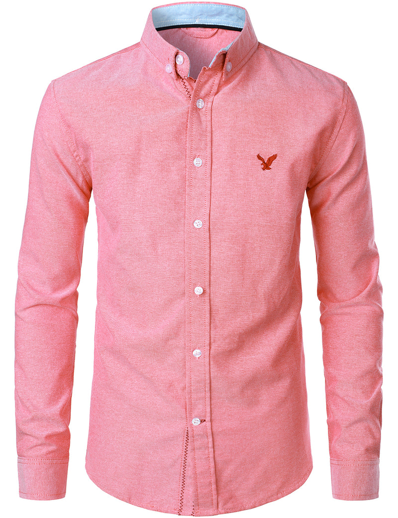 Men's Long Sleeve Solid Color Embroidered Oxford Cotton Shirt
