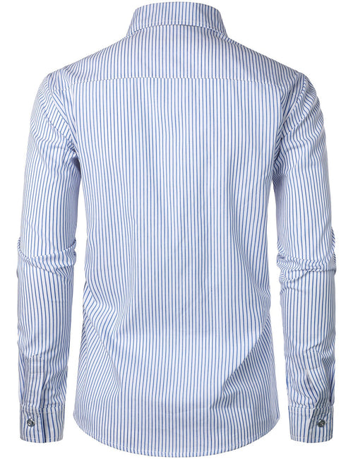 Men's Long Sleeve Casual Button Down Cotton Striped Shirt