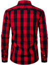 Men's Cotton Lapel Plaid Long-sleeved Business Casual Shirt
