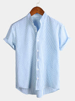 Men's Breathable Cotton Short Sleeve Striped Shirt