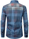 Men's Long Sleeve Casual Denim Plaid Shirt