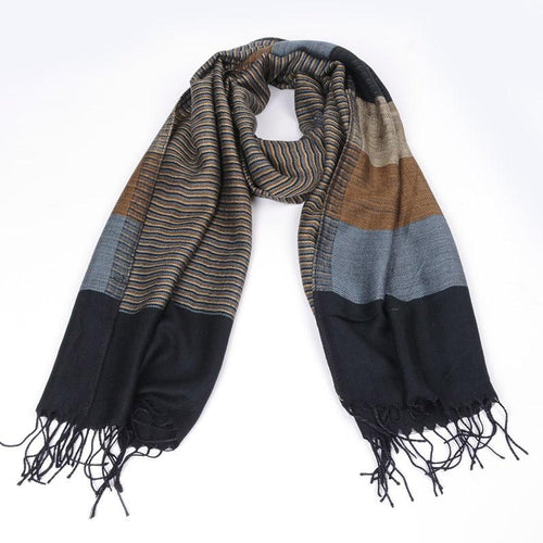 Men's Striped Double-Sided Fringed Scarf