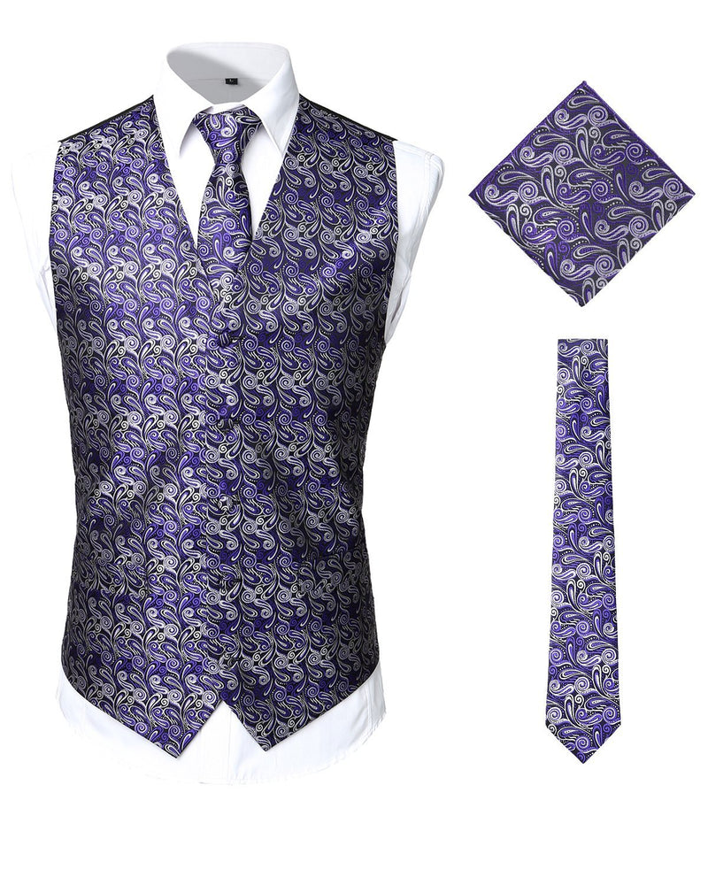 Men's Paisley Vest Necktie Square Pocket Handkerchief Set for Suit or Tuxedo