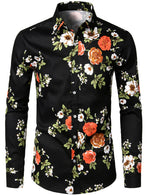 Men's Floral Long Sleeve Cotton Casual Button Down  Shirt