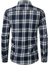 Men's Fashion Cotton Long-sleeved Denim Plaid Shirts