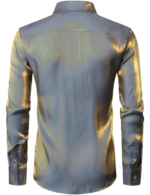 Mens Metallic Shiny Nightclub Styles Long Sleeve Button Down Dress Shirts