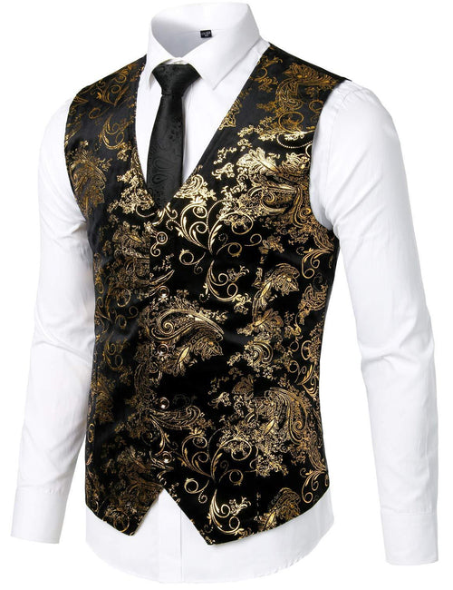 Mens Hipster Metallic Paisley Printed Single Breasted V-Neck Suit Vest/Tuxedo Waistcoat