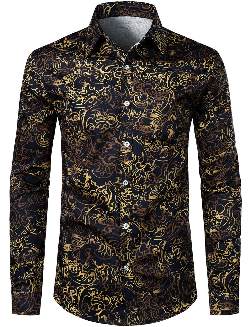 Men's Floral Casual Long Sleeve Cotton Shirt