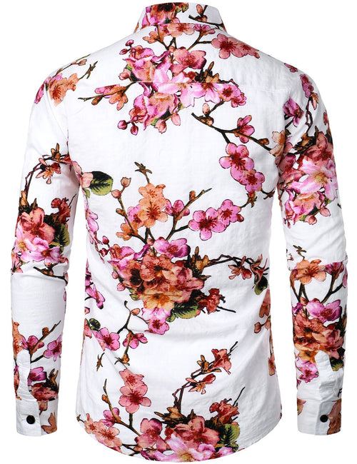 Men's Floral Print Long Sleeve Casual Button Down Shirt