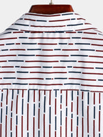 Men's Short Sleeved Casual Button Down Stripe Shirt