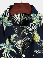 Men's Casual Pineapple Pattern Cotton Shirt