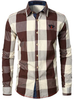 Men's Casual Cotton Plaid Color Matching Long-sleeved Shirt