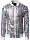 Men's Metallic Sequins Baseball Bomber Jacket Disco Party Costume
