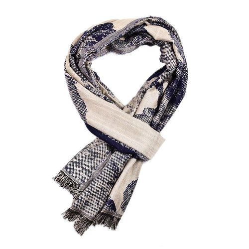 Men's Casual Warm Snakeskin Flower Scarf