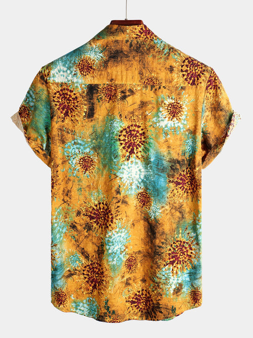 Men's Floral Printed Cotton Shirt