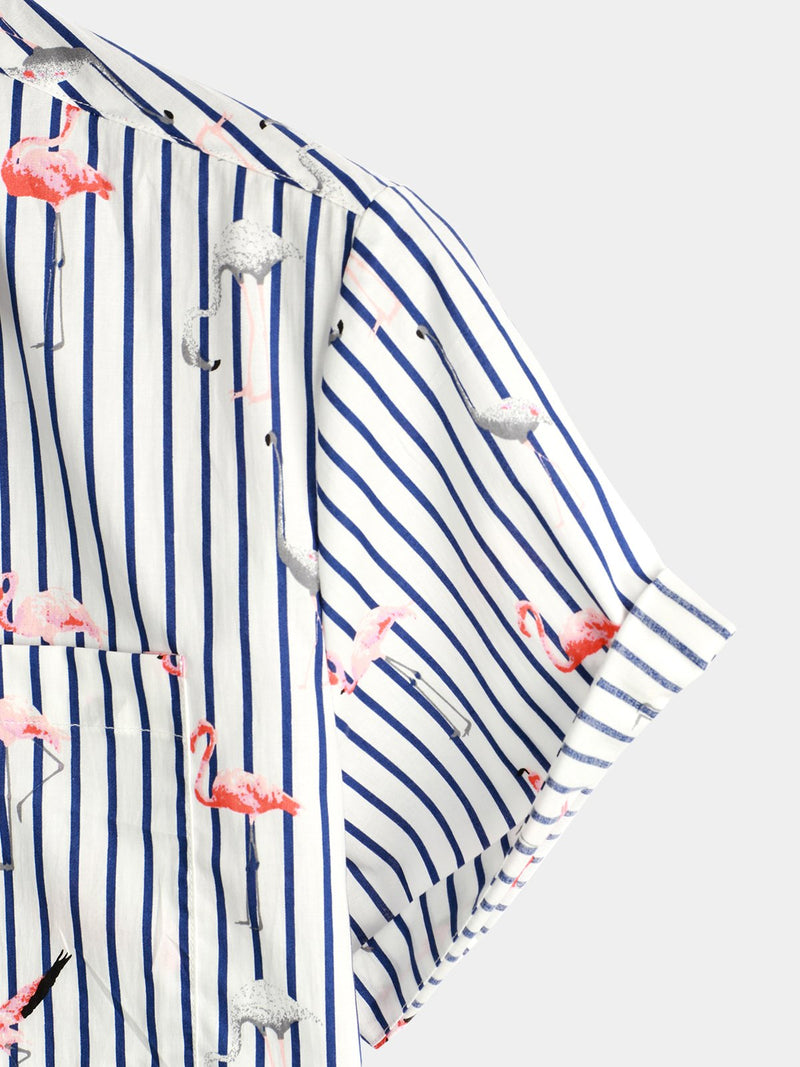 Men's Casual Floral Pocket Cotton Striped Shirt