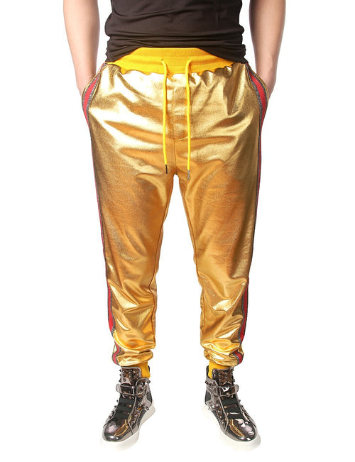 Men's Metallic Shiny Joggers Casual Drawstring Sweatpant