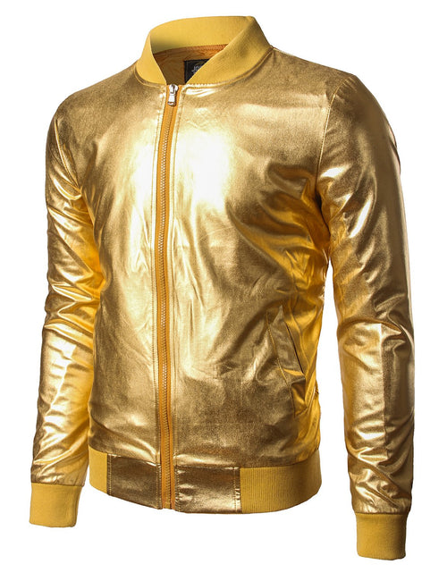 Mens Metallic Nightclub Styles Zip Up Varsity Baseball Bomber Jacket Costume