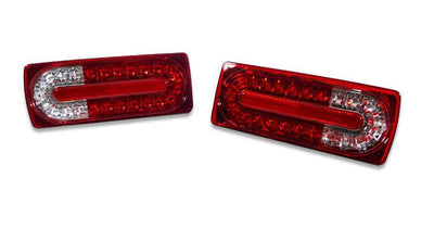 1990-2006 Mercedes G Class W463 2007+ Facelift Style LED Rear Tail Light Set-Lighting-Unique Style Racing- Description Fitment • 1990-2006 Mercedes Benz W463 G Class G Wagon Features • Available in four different options: - Red/Clear LED Tail Lights - Red/Smoke LED Tail Lights - Black/Smoke LED Tail Lights - Black/Clear LED Tail Lights • Latest year 2007+ Facelift Style now available to your Pre-Facelift G Wagon! • Latest Crystal style housing with the latest real L.E.D Technology - Simple PLUG