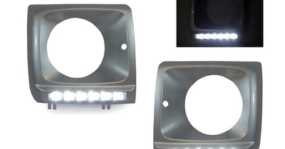 1990-2006 Mercedes G Class Wagon W460 / W463 Painted Headlight Bezel with LED DRL Daytime Running Light-Lighting-Unique Style Racing- Description Fitment • 1990-2006 Mercedes Benz W463 G Class G Wagon Features • Available in 2 Pre-Painted Colors on the headlight bezel: - Black (Color Code 197) - Irdium Silver Metallic (Color Code 9775 / 775) • Painted Headlight Bezel Trims are color matched fit the specified OEM paint color so skip waiting for these headlight bezel to be painted and have them in