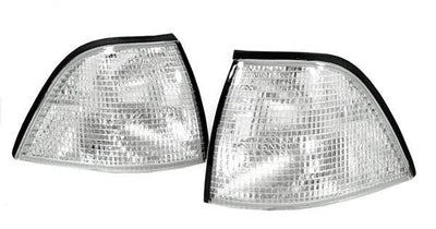 1992-1999 BMW E36 3 Series 2D Coupe / Convertible DEPO Euro Glass Clear Corner Lights-Lighting-DEPO- Description Fitment • 1992-1999 BMW E36 2D Coupe and Convertible All Models Features • Available in Clear, Smoke, OR Dark Smoke. • For Smoke Version, Unique Smoke Lens is not tinted on or painted on, it is manufactured that way. Therefore, it will not fade. The smoke color shown may appear darker or lighter, due to photo lighting. • Simple Plug & Play - No Error after installation. • Direct Repla