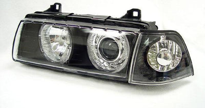1992-1999 BMW E36 3 Series DEPO P36 Projector Angel Eye GLASS Lens Headlight Optional UHP LED Halo Rings-Lighting-DEPO- Description Fitment • 1992-1999 BMW E36 3-Series - All Models Features • BMW DEPO Projector36 (P36) Projector Glass lens headlights with Angel Eye Halo Rings. • Latest style crystal lens with diamond cut neo-modern housing. • Comes with standard yellowish color Angel Eye Halo Rings from DEPO (optional upgrade on the Angel Eye Halo Rings is available such as UHP LED). • Glass le