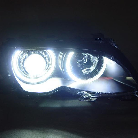 1999-2001 BMW 3 Series E46 4D Sedan / 5D Wagon DEPO Angel Eye Projector Headlight with Optional UHP LED Halo Rings For Factory Halogen Models