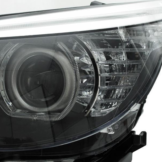 2004-2007 BMW 5 Series E60 / E61 DEPO Projector V3 F30 Style Square Bottom Angel Eye White LED Halo U Rings Projector Headlight For Factory Xenon Model
