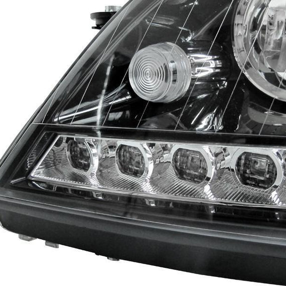 2006-2008 Mercedes Benz M Class W164 White LED Strip Chrome or Black Housing Projector Headlight For Stock Halogen Model Made by DEPO