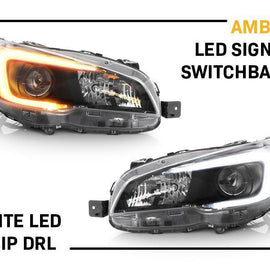 "2015-2020 Subaru WRX USR Edition SWITCHBACK 500 Lumen ""C"" WHITE/AMBER LED Black Housing Projector Headlight For with Factory Halogen Models Made by DEPO-Lighting-DEPO- Description Fitment • 2015-2020 Subaru WRX - Fit for Factory Halogen Models Only Features • Upgrade to the STi Style that instead of small, weaker T10 bulb, now full LED to the entire ""C"" section in the headlight (just like the OEM STi LED Headlight).• Optional Turn Signal Light Quick Connect Extender Adapters + Plug and Play Dayt"