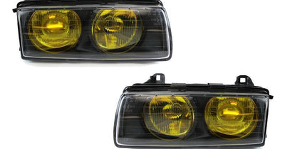 "DEPO 1992-1999 BMW E36 3 Series French Edition Yellow Glass Lens Hella Euro Ellipsoid Projector Headlight-Lighting-DEPO- Description Fitment • 1992-1999 BMW E36 3 Series Features • Rare French Edition Yellow Glass Lens - The Yellow Lens are made by the manufacturer, which they DO NOT use vinyl wrap OR film. Therefore, it will not fade over time. • Hella ""Nipples"" Style Euro Projector to provide a nice cut-off projector low beam output. • Special 9005/9006 wiring adapters included for easier inst"
