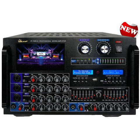 IDOLMAIN IP-7500 8000W Max Output Professional Digital Console Mixing Amplifier With 7 LCD Screen Monitor Built-In, Bluetooth, Recording, Guitar Level Control & Digital Optical ( MODEL 2020 )