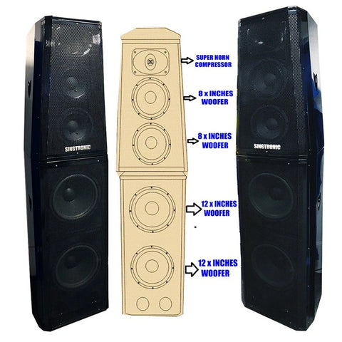 SINGTRONIC KS-4000DW PROFESSIONAL 2000W DOUBLE WOOFER BOOM BASS + SUPER COMPRESSOR KARAOKE VOCALIST SPEAKER - MODEL 2020