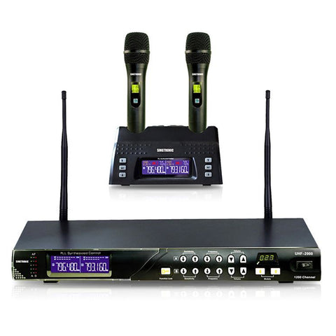 Singtronic UHF-2000 Professional Digital Dual Wireless Rechargeable Microphone Karaoke System Model: 2020 Feedback Control