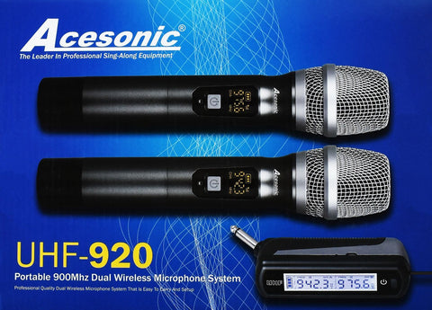 Acesonic Portable 900MHZ Dual Wireless Microphone System