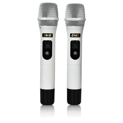 BMB White Wireless Microphone & Receiver WB-5000S - BUILT IN FEEDBACK CONTROL - MODEL 2021