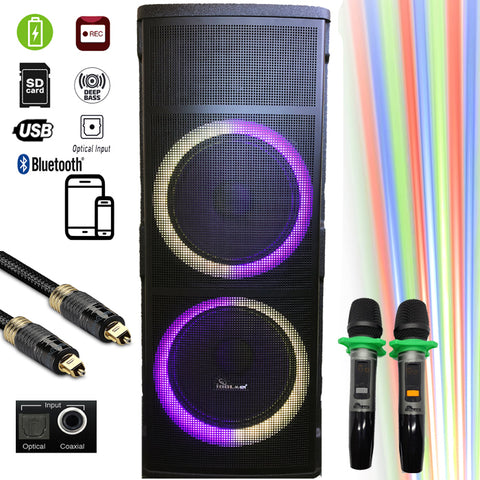 Loa Kéo Di Động - IPS-DJ06 Bluetooth Rechargeable Party Speaker With Optical Input, USB/SD Port, Dual Rechargeable Wireless Microphone - 1500 Watts - Model 2020
