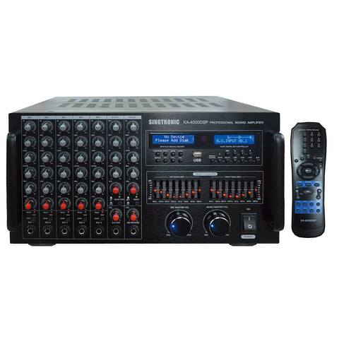 Singtronic KA-4000DSP Professional DJ/KJ Digital 4000W Console DSP Mixing Amplifier Karaoke Built HDMI, USB Voice Recording, Equalizer & Bluetooth Model: 2021 Digital Optical Input